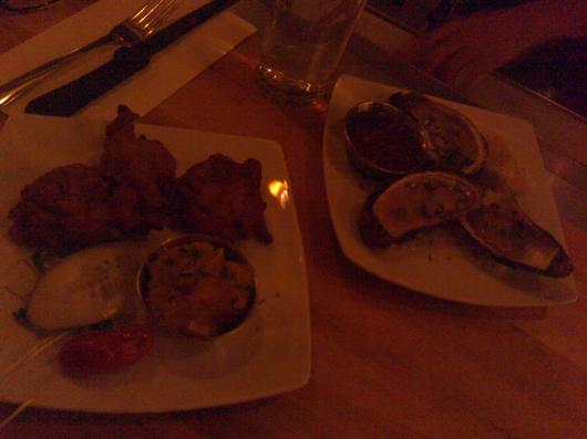 bhaji and oysters