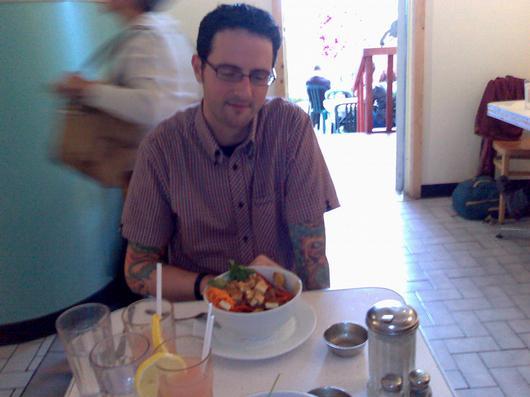 Sean Bonner and a vegan poutine