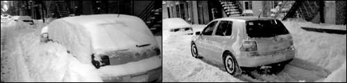 Car in Snow, before and after